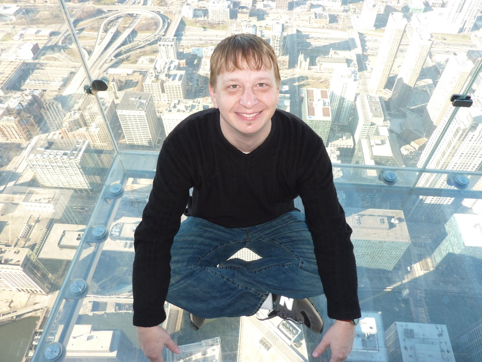 Who says I'm not a daredevil? (Transparent skydeck at Willis Tower, the building formerly known as Sears Tower)